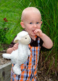 Toddler boy and toy lamb Stock Photography