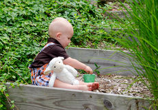 Toddler boy and toy lamb play in a sunlit garden in spring Royalty Free Stock Images