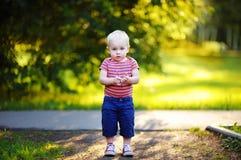 Toddler boy walking in the park Stock Photos