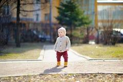 Toddler boy walking at the spring day Stock Photo