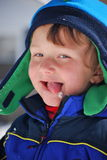 Toddler boy wearing winter clothes Royalty Free Stock Photography