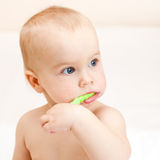 Toddler brushing teeth Royalty Free Stock Image
