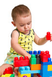 Toddler building a castle royalty free stock photo