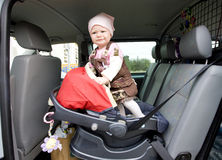 Toddler in car Royalty Free Stock Images