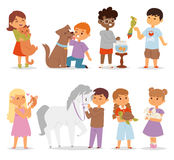 Toddler cartoon kids characters petting little pet in and cute kind child feeding animals friends in the zoo friendship. Vector illustration. Love fun people royalty free illustration