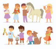 Toddler cartoon vector kids characters petting little pet in and cute kind child hold hug home pets animals lovely. Friends like horse pony, cat, dog, bird in Royalty Free Stock Images