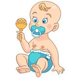 Cartoon toddler baby with toys. Toddler character. Cartoon baby boy or girl in blue diaper with pacifier playing toys. Design for children`s coloring book royalty free illustration