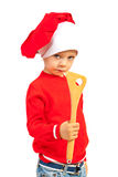 Toddler chef with wooden utensil Royalty Free Stock Photos