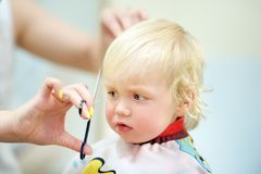 Toddler child getting his first haircut Royalty Free Stock Image