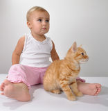 Toddler child plays with a cat Royalty Free Stock Photography