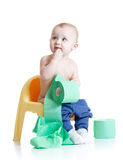 Toddler child sitting on chamber pot with toilet Royalty Free Stock Photos