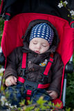 Toddler child is sleeping in the stroller Stock Photos