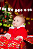 Toddler in Christmas costume Royalty Free Stock Images