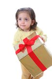 Toddler with a christmas gift royalty free stock photo