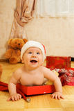 Toddler in Christmas hat Royalty Free Stock Photo