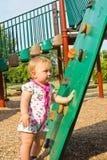 Toddler at Climbing Ramp stock image