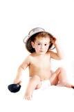 Toddler in colander hat Royalty Free Stock Image