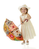 Toddler with Coloful Parasol Stock Photography