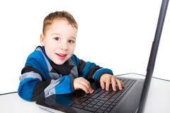 Toddler at the computer Royalty Free Stock Images
