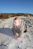 Toddler crawling on beach Royalty Free Stock Photo