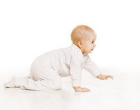 Toddler Crawling in White Baby Onesie, Kid Creeping, White Stock Image