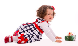 Toddler crying over  present box Stock Photos