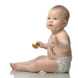 Toddler in diaper playing Royalty Free Stock Images