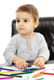 Toddler drawing Stock Image