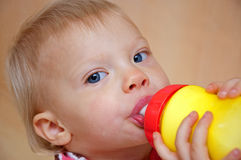 Toddler Drinking Milk. This cute blue eyed toddler girl is drinking milk from a brightly colored sippie cup Royalty Free Stock Photography