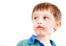 Toddler eating chocolate Royalty Free Stock Images