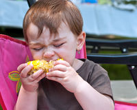 Toddler Eating Corn on the Cob. Cute toddler girl with eyes shut savoring a juicy corn on the cob royalty free stock photography