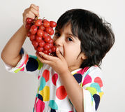 Toddler eating graphs Royalty Free Stock Photography
