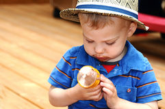 Toddler eating icecream cone Royalty Free Stock Photography