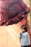 Toddler eating icecream Stock Photo