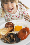 Toddler Eating Unhealthy Breakfast Royalty Free Stock Photo