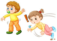 Toddler falling down on the ground. Illustration Stock Photos