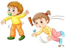 Toddler falling down on the ground. Illustration vector illustration
