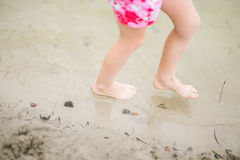 Toddler feet in water at the beach Stock Image