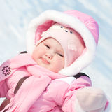 Toddler in front of winter sky Royalty Free Stock Images