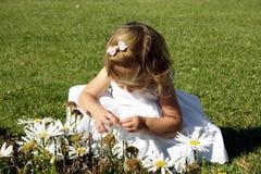 Toddler in the garden stock image