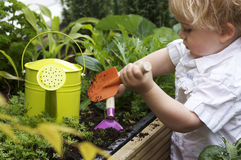 Toddler gardening stock image