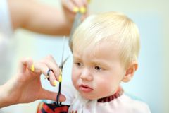 Toddler getting his first haircut Stock Photo