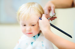 Toddler getting his haircut Royalty Free Stock Photos