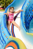 Toddler girl   in aqua park Royalty Free Stock Photography