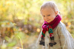 Toddler girl at autumn forest Royalty Free Stock Image