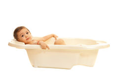 Toddler girl in bathtub Royalty Free Stock Photo