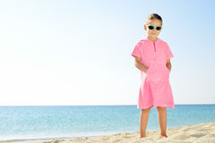Toddler girl on the beach Royalty Free Stock Photography