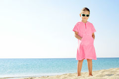 Toddler girl on the beach Royalty Free Stock Images