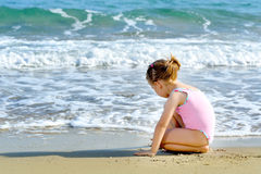 Toddler girl at beach Royalty Free Stock Image