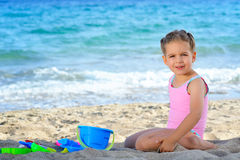 Toddler girl at beach Royalty Free Stock Image